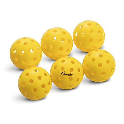 Champion Sports Outdoor Pickleball Balls: Official Size Outdoor Pickleballs - Yellow Pickleball Ball Set for Outdoor Courts - 6 Pack