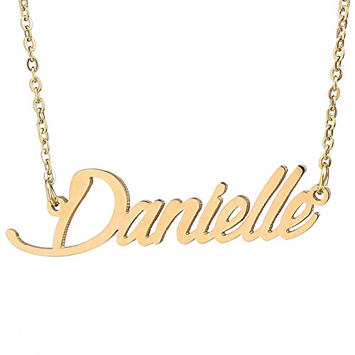 HUAN XUN Gold Color Plated Script Name Necklace, Danielle