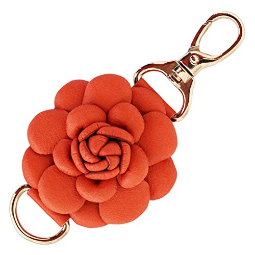 Genuine Leather Handmade Rose Charms | Pom Pom Keychain | for Tassel Bags Purse Backpack (Orange - Rose)