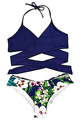 CUPSHE Women's Made The Cross Floral Halter Bikini Set, Dark Blue, Medium