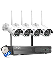 [Expandable 8CH,2K] Hiseeu Wireless Security Camera System with 1TB Hard Drive with One-Way Audio,8 Channel NVR 4Pcs 1296P 3.0MP Night Vision WiFi Security Surveillance Cameras DC Power Home Outdoor