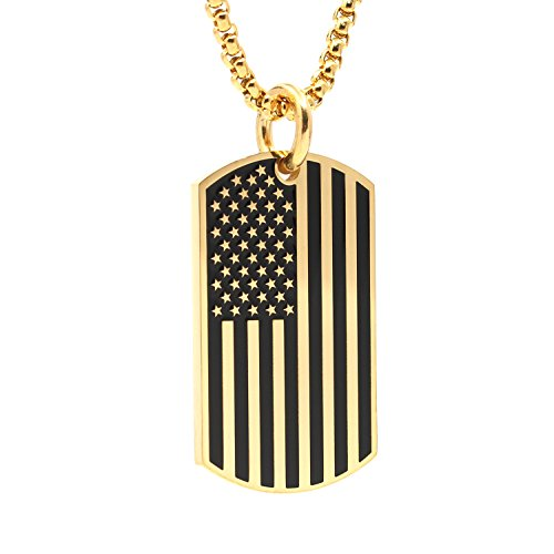 (Silver Stainless Steel USA American Flag Dog Tags Pendant Necklace for Men Chain 24'')