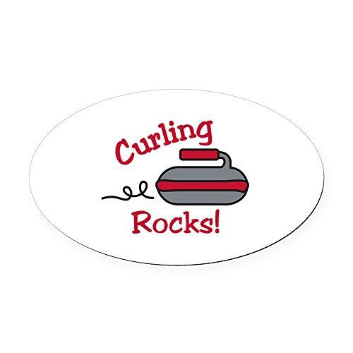 CafePress - Curling Rocks Oval Car Magnet - Oval Car Magnet, Euro Oval Magnetic Bumper Sticker