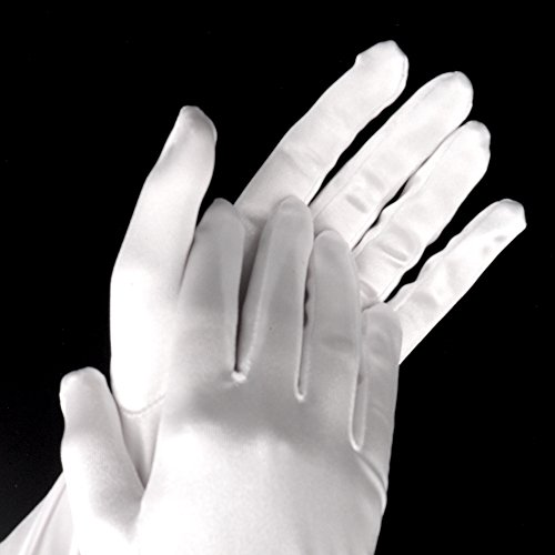 Satin Elbow Length Gloves [White] by Yabber - for Bride / Bride's Maid / Wedding / Halloween Costume (Womens)