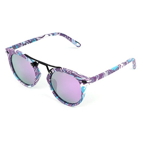 Hukai Women Sunglasses Men Vintage Fashion Eyewear Colorful Frame Metal Brand Designer - Gents Oval Stone Color