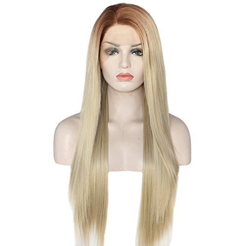 eNilecor Blonde Lace Front Wig, Long Straight Wigs Realistic Synthetic Hair Replacement Wig Ombre 2 Tone for Women
