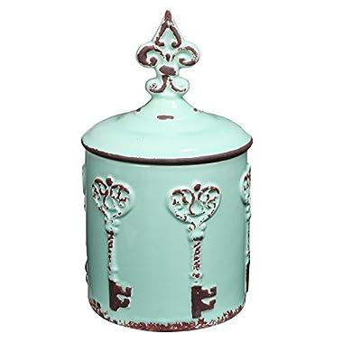 Vintage Style Key & Fleur de Lis Design Cyan Blue Ceramic Storage Canister / Lidded Cookie Jar - MyGift®