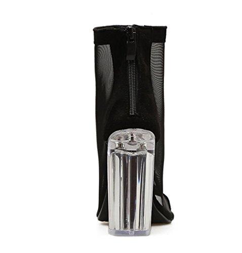Uk Tacco Nero Lavoro 5 6 Cristallo Sandali Vestito Festa 6 Di Alto Donna Sexy Stivali Eur Scarpe Spessore Netto Trasparente Discoteca 39 CUwSq0