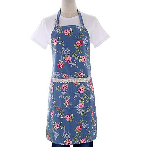 花のパターンレストランエプロン、ホームキッチン料理便利なゆったりフロントポケットエプロンwith   B072F9BW9H