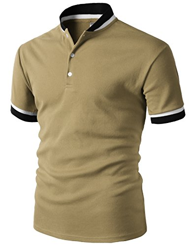 H2H Mens Summer Casual Slim Fit Single Button Short Sleeve Placket Plain Henley Top T Shirts Beige US M/Asia L (KMTTS0572)