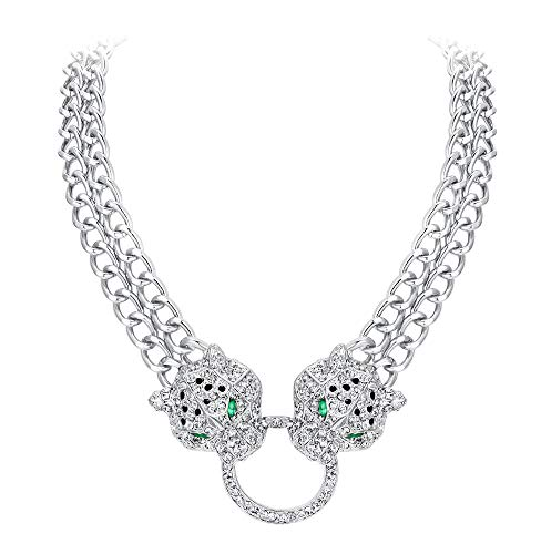EVER FAITH Silver-Tone Dual Leopard Head Necklace Clear Austrian Crystal