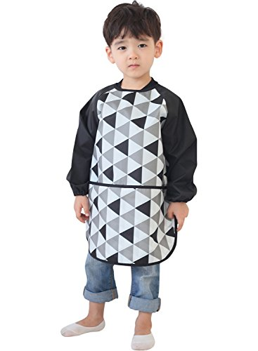 (Plie Kids Art Smocks, Children Waterproof Artist Painting Aprons Long Sleeve with Pockets, Black Triangle (21-L))