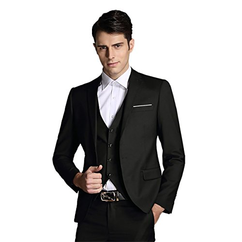 Fit Suit Trousers (Mens Notch Lapel Modern Fit Suit Blazer Jacket Tux Vest and Trousers Set Three-Piece,Black,Medium)