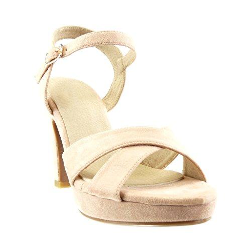 Haut Plateforme 5 Escarpins Rose 10 Bloc Mode Boucle Angkorly Pompe Sexy Femmes Talon String Sandales Chaussures Cm fqP6wWYxC