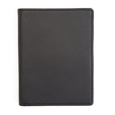 RFID Blocking Passport Travel Document Wallet in Genuine Leather (Black W/ GPS Technology)