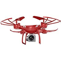 [Quadcopter] Wide Angle Lens HD Camera Quadcopter RC Drone WiFi FPV Live Helicopter Hover (Red, With Camera)