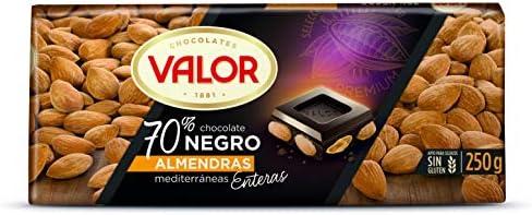 Valor Chocolate Negro Con Almendras - 250 gr: Amazon.es ...