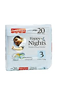Fisher-Price Happy Nights Baby Diapers Jumbo Pack, Size 3, 20 Count (Pack of 12)