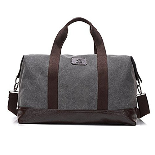 Travel Duffle Bag Canvas Leather Gym Weekend Bag (Grey) (Weekend Bag)