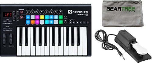Novation LaunchKEY 25 MK2 Keyboard Controller w/ Cleaning Cloth and Sustain Pedal