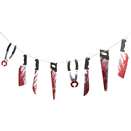 12 Piece Bloody Weapons Garland Props Decor Spooky Halloween Decoration 2.4 m