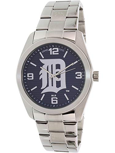 (Game Time ' Elite' Quartz Stainless Steel Casual Watch, Color:Silver-Toned (Model: MLB-ELI-DET))
