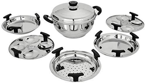 Stainless Steel Multi Kadai-with 5 Plates- from Amazon Brand Solimo