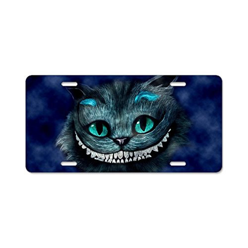 YEX Cheshire Cat Digital Art License Plate with 4 Holes Novelty Car Licence Plate Covers Tag - License Cat Cheshire Plate