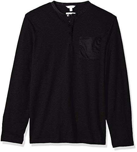 Calvin Klein Men's Long Sleeve Henley Shirt, Black Combo, 2X-Large