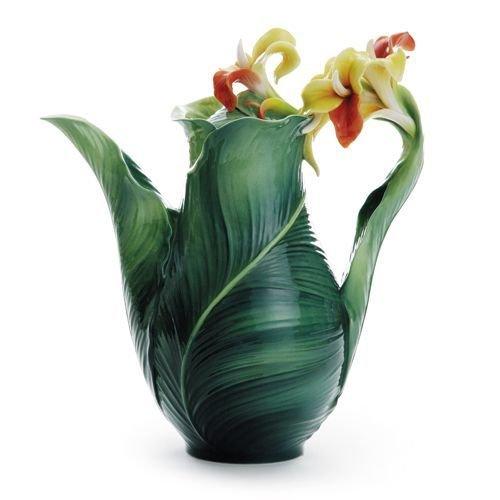 Franz Fine Porcleain Brilliant Bloom Canna Lily Flower Teapot FZ01816