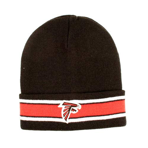 KB Atlanta Falcons Knit Black with Double Stripe Cuffed NFL Hat ()