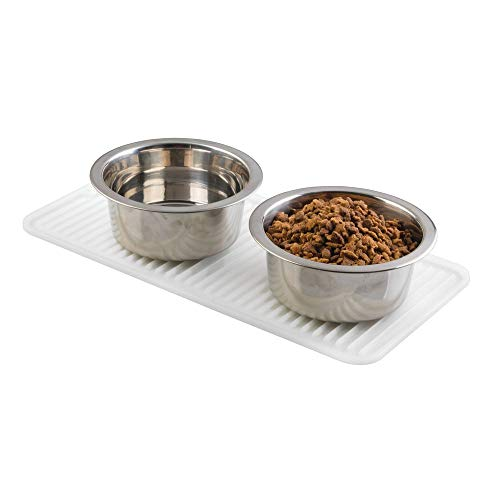 mDesign Premium Quality Pet Food and Water Bowl Feeding Mat for Cats and Kittens - Waterproof Non-Slip Durable Silicone Placemat - Food Safe, Non-Toxic - Small - Clear ()