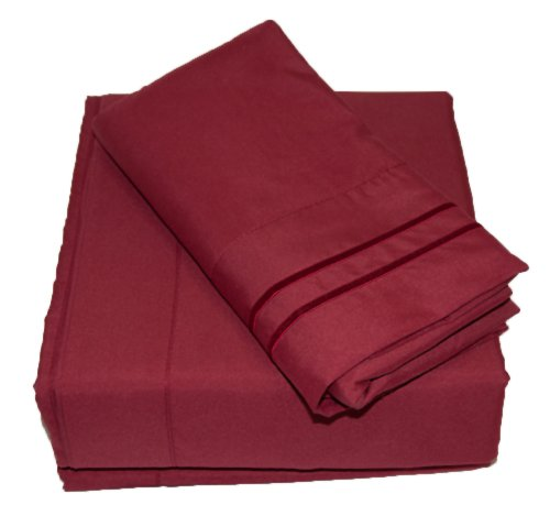 Comfort Products Set Mattress (Waterbed Sheets/California King Luxury 1800 Series Sheet Set - Dark Red)