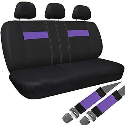 Motorup America Auto Bench Seat Cover - Fits Select Vehicles Car Truck Van SUV - Purple & Black
