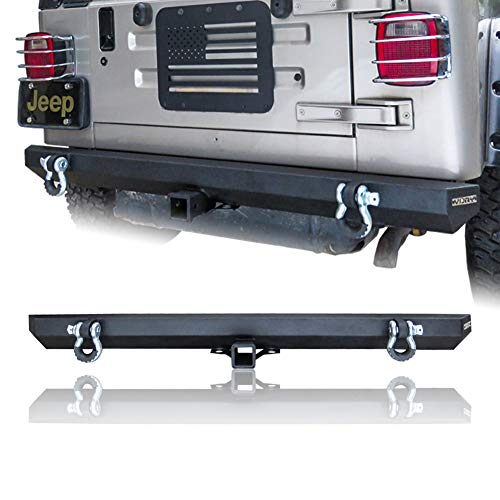 Vijay Textured Black Rear Bumper with Two 4.75 Ton D-Rings and Two