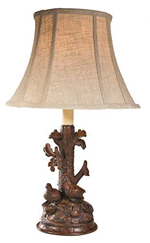 LodgeandCabins 2 Quail Lamp, Brushed Wood