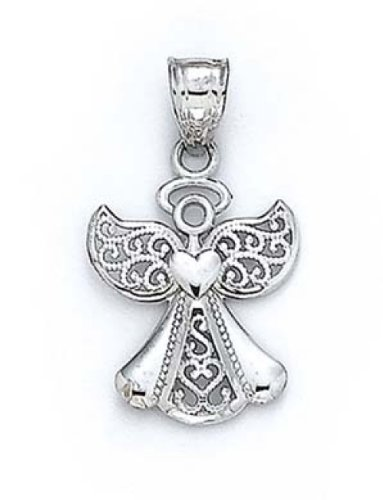 Amazon 14k white gold angel pendant 34 inch x 125 inch jewelry 14k white gold angel pendant 34 inch x 125 inch aloadofball Image collections