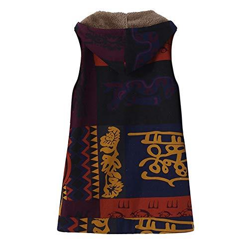 Gilet Poches À Manteau Morchan Vintage Imprimé Capuchon C Outwear Géométrique Chaud Femmes bleu Oversize xqYRvAU