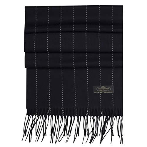 Messerio Plaid Herringbone% 100 Cashmere Scarf Women and Men Super Soft Luxurious Winter Shawl with Gorgeous Gift Box - (Black & White Stripe) - Herringbone Stripe Scarf