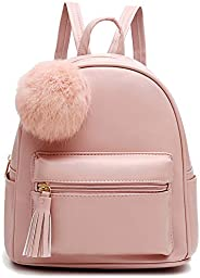 Mini Backpack Purse for Girls Teens Women Purses PU Leather Pom Backpack Shoulder Bag with Charm Tassel