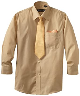 American Exchange Big Boys' Dress Shirt with Tie and Pocket Square, Gold, 8