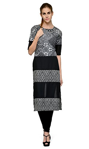 Indi-Dori-Poly-Crepe-Black-Tribal-Print-Casual-Long-Kurti