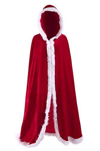 Deluxe Mrs Santa Costume (SAWMONG Christmas Cardigan Cloak Mrs Santa Claus Deluxe Velet Hooded Cape Costume Outfit)
