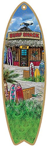 SJT96218-Surf-Shack-5-x-16-Surfboard-Wood-Plaque-featuring-the-artwork-of-Michael-Messina