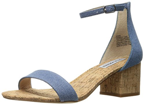 (Steve Madden Women's Irenee-c Dress Sandal, Denim, 10 M US)