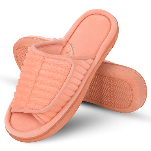 DL Dena Lives Men's Adjustable Open Toe Memory Foam Slippers, Women's Washable Home Indoor Slippers House Shoes Orange