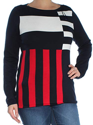Tommy Hilfiger Womens Cotton Mixed-Stripe Pullover Sweater Navy L