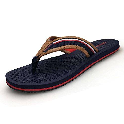URBANFINDURBANFIND Men's Retro British Style Flip Flops Slippers Outdoor Indoor Sandals Blue, 13 D(M) (Retro Style Men)