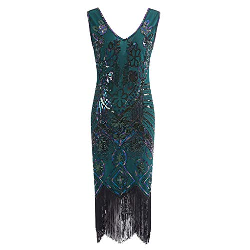 Dresses for Women Party Wedding,UOKNICE Plus Size Women's 1920s Flapper Dress Crystal Sequin Embellished Fringed Gatsby Dress -