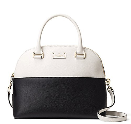 Kate Spade Grove Street Carli Leather Crossbody Bag Purse Satchel Shoulder Bag, Black Cement by Kate Spade New York